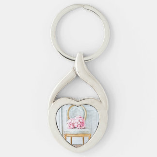 French Provencial Flowers Silver-Colored Heart-Shaped Metal Keychain