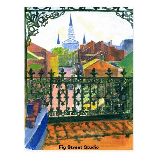 French Quarter Balcony, Fig Street Studio Postcards
