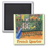 French Quarter Balcony, French Quarter 2 Inch Square Magnet