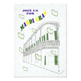 French Quarter Balcony Mardi Gras Party Card