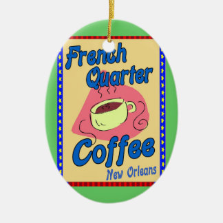 French Quarter Coffee Double-Sided Oval Ceramic Christmas Ornament