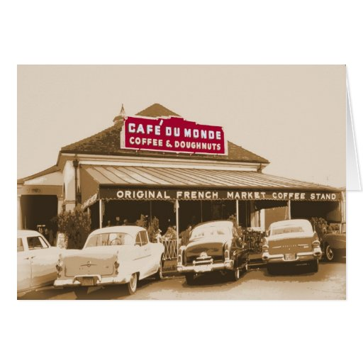 French Quarter Coffee Stand 1950 Card