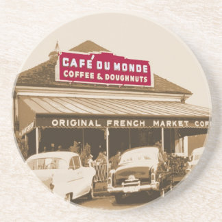 French Quarter Coffee Stand 1950 Drink Coaster