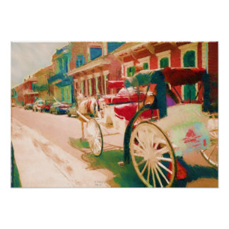 French Quarter Horse & Carriage Poster