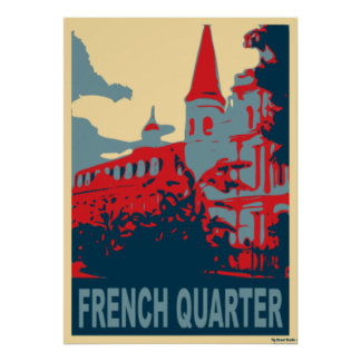 French Quarter In Red and Blue Poster