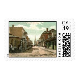 French Quarter, New Orleans 1910 Vintage Postage Stamp
