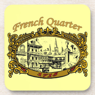 French Quarter Scroll Sign 1718 Drink Coaster
