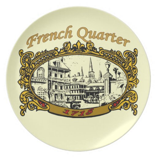 French Quarter Scroll Sign 1718 Party Plate