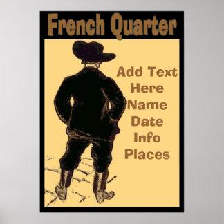 French Quarter Travel Sign Poster