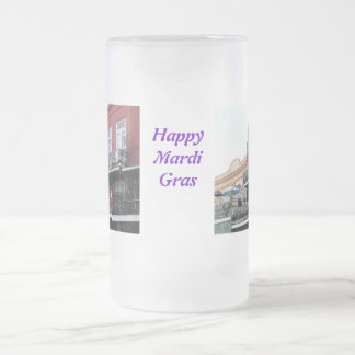 French Quarter Wrought Iron Balconies Frosted Glass Beer Mug