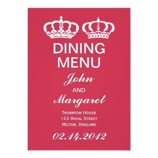 French Raspberry Royal Couple Dining Menu 4.5x6.25 Paper Invitation Card