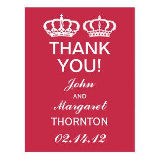 French Raspberry Royal Couple Thank You Postcard