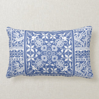 French Renaissance Blue White Lace Flowers Birds Throw Pillow