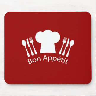 French Restaurant Chefs Hat and Silverware Mouse Pad