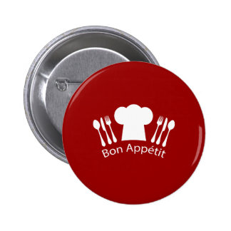French Restaurant Chefs Hat and Silverware Pinback Button