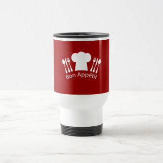 French Restaurant Chefs Hat and Silverware Travel Mug