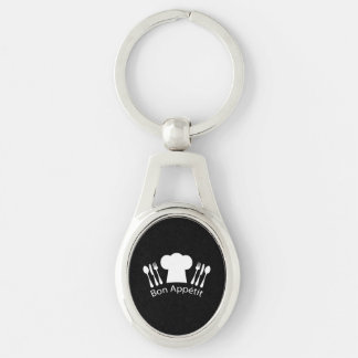 French Restaurant Chefs Hat for Gourmet Silver-Colored Oval Metal Keychain