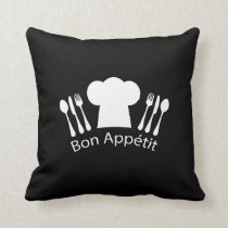 French Restaurant Chefs Hat for Gourmet Throw Pillow