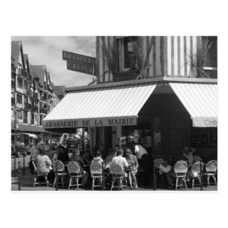 French restaurant scene postcard