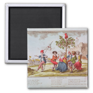 French revolutionaries dancing the carmagnole 2 inch square magnet
