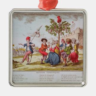 French revolutionaries dancing the carmagnole metal ornament