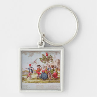 French revolutionaries dancing the carmagnole Silver-Colored square keychain