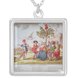 French revolutionaries dancing the carmagnole square pendant necklace