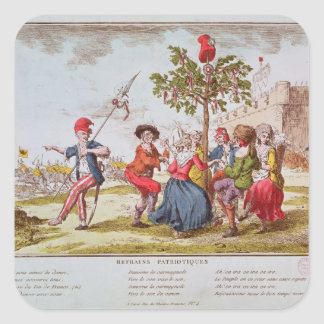 French revolutionaries dancing the carmagnole square sticker