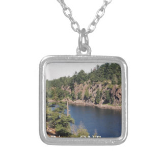 French River ONT Square Pendant Necklace