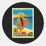 French Riviera La Plage De Calvi Corse Round Sticker