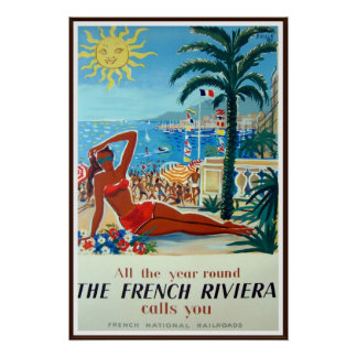 French Riviera Vintage Travel Poster Print