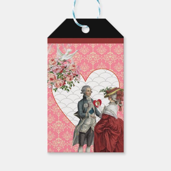 French Rococo Couple and Pink Damask Valentine Gift Tags