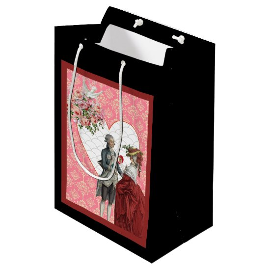 French Rococo Couple and Pink Damask Valentine Medium Gift Bag