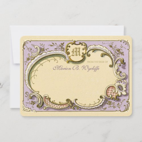 French Rococo Elegant Frame Antique Gold Lilac Note Card