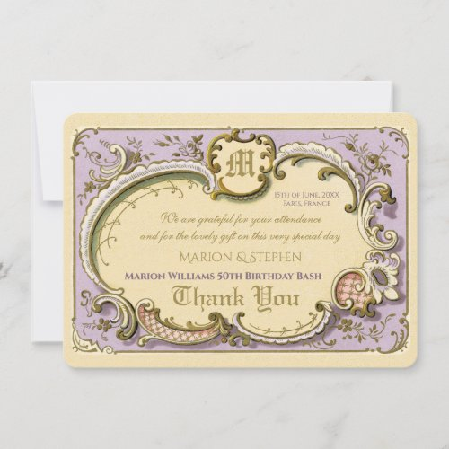 French Rococo Elegant Frame Antique Gold Lilac Thank You Card