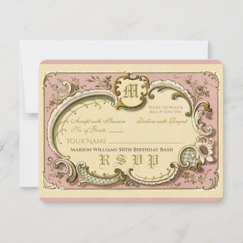French Rococo Elegant Frame Antique Gold Pink RSVP Card