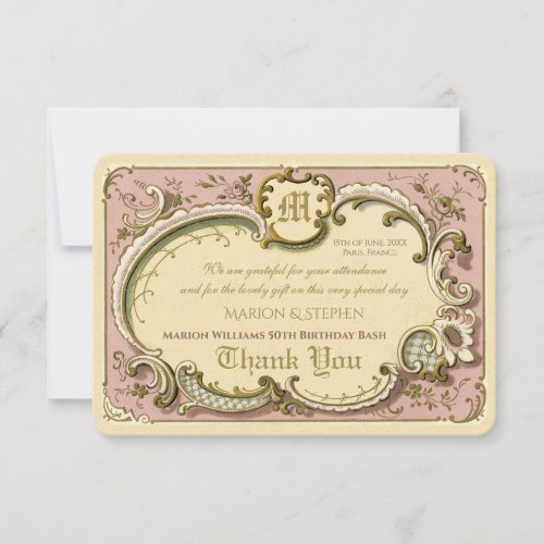 French Rococo Elegant Frame Antique Gold Pink Thank You Card