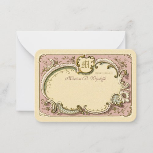 French Rococo Elegant Frame Gold Dusty Pink Note Card