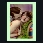 "French Romantic Couple Love Kiss Vintage Postcard<br><div class=""desc"">French Romantic Love Kiss Vintage Art Beautiful French Models Romantic Photographs</div>"