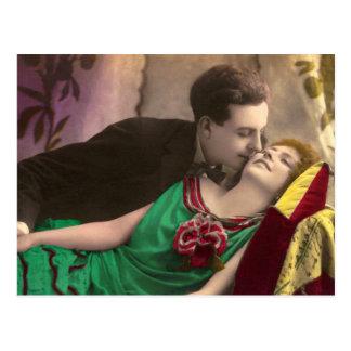 French Romantic Love Couple Vintage Postcard