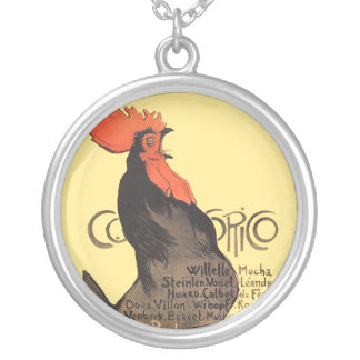French Rooster Cocorico by Stenlen Art Poster Silver Plated Necklace