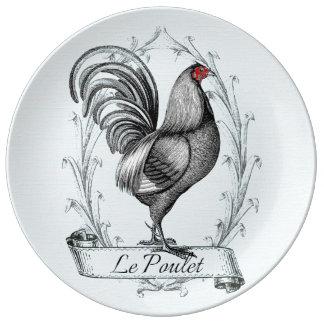 French Rooster Le Poulet Plato De Cerámica