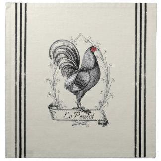French Rooster Le Poulet Servilleta Imprimida