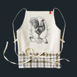 """French Rooster Le Poulet Zazzle HEART Apron<br><div class=""""desc"""">French Rooster Le Poulet is a vintage image of a French Farmhouse Rooster. Black drawing on cream colored linen textured background.</div>"""