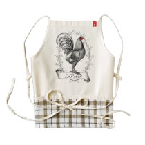 French Rooster Le Poulet Zazzle HEART Apron