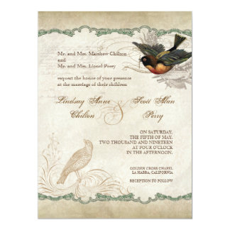"""French Rose Love Birds Vintage Lace - Apple Green 6.5"""" X 8.75"""" Invitation Card"""