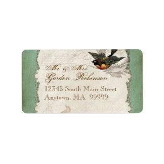 French Rose Love Birds Vintage Lace - Apple Green Address Label