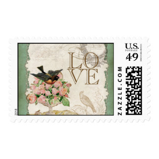French Rose Love Birds Vintage Lace - Apple Green Postage Stamp