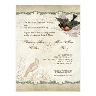 French Rose Love Birds Vintage Lace - Aqua Blue Card