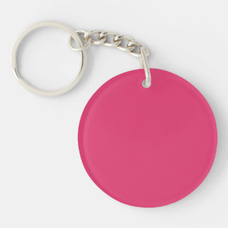 French Rose Pink Personalized Color Background Keychain